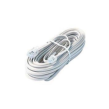 Amazon.com: 25\' FT Phone Cord White Modular Line RJ-11 RJ11 4-Wire ...