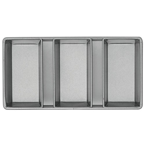 Chicago Metallic Bakeware Aluminized Steel Glazed 3-Strap Loaf Pan Set (Commercial Pan Loaf)