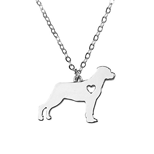 Rottweiler Pendant (Art Attack Silvertone I Love My Dog Lover Heart Outline Rottweiler Pet Puppy Rescue Pendant Necklace)