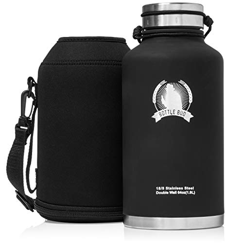 (Growler By Bottle Bud - Stainless Steel Growler Water Bottle (64OZ) & Carry Bag, Double Wall Sweatproof Vacuum Insulated, Perfect for Craft Beer, Thirst-Quenching Water on Long Hikes, or Hot Tea)