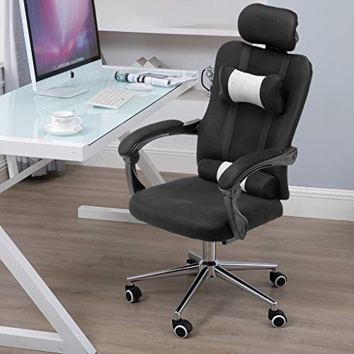 Sodoop Office Mesh Chair Classic Ergonomic Office Chair Computer Swivel Office Desk Chair w/Adjustable Headrest and Armrest with Lumbar Support (Black)