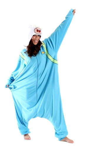 Adventure Time Finn the Human Hooded Kigurumi Pajama Costume (Finn Jake Costume)