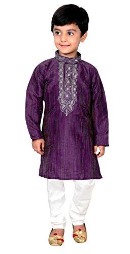 Indian Boys Sherwani Kurta Pyjama Shalwar Kameez Outfit 884 (3 (3 yrs), Purple) by Desi Sarees