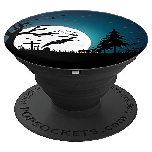 Spooky Pumpkin Moon Graveyard Bats Halloween Wallpaper Gift - PopSockets Grip and Stand for Phones and Tablets -