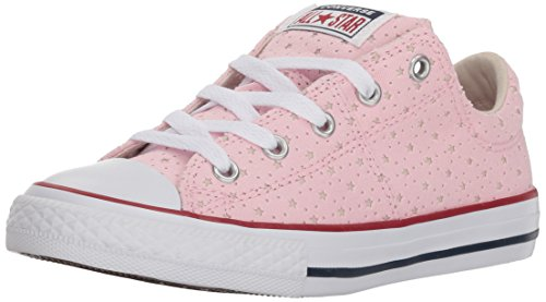 Converse Girls' Madison Star Perforated Low Top Sneaker, Cherry Blossom/Driftwood/White, 4 M US Big Kid (Star Low Shoes)