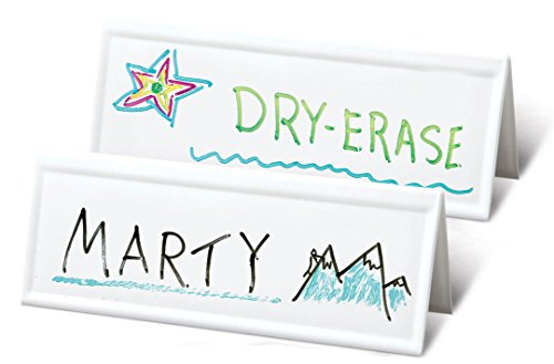 "Set of 36 Reusable Name Cards - WHITE, dry-erase tent, LARGE 11"" x 4"""