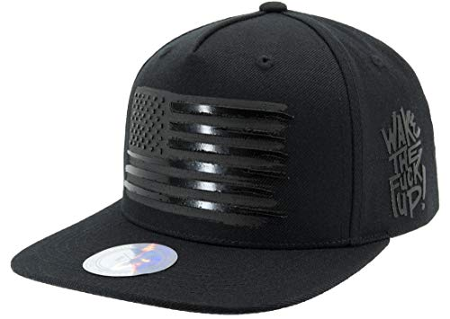 Flipper Black American Flag Flat Bill Baseball Cap Snapback Hat for Men Women