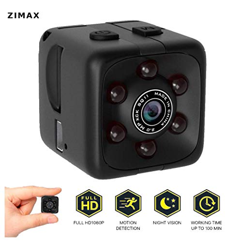 Upgrade 2018-19!! Mini Spy Camera Hidden Camera Zimax HD 1080P Indoor Home Small Spy Cam Security Cameras/Nanny Cam Built-in Battery with Motion Detection/Night Vision, Update Version