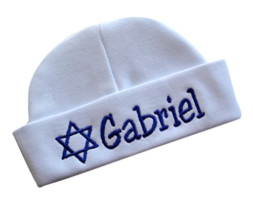 - Embroidered Baby Boy Hat Personalized Keepsake Custom Infant Hat for Jewish Baby Boys with STAR OF DAVID and CUSTOM NAME