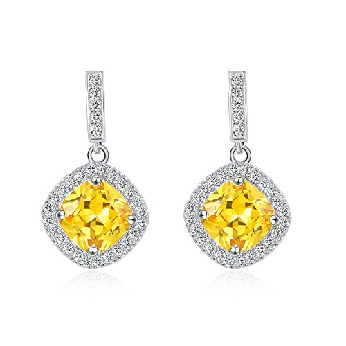 Canary Yellow Colour - Cubic Zirconia Earrings for Women Stainless Steel Dangle Earrings Yellow Square Halo Stud Earrings