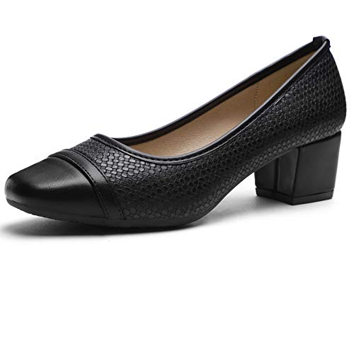 (Pumps for Women Chunky Heels Black)