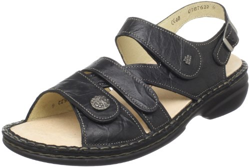 Finn Comfort Women's Gomera Ankle-Strap Sandal,Black Plisseelight,42 EU/11 M US by Finn Comfort