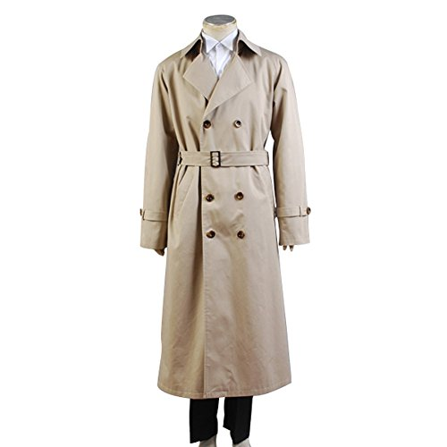 Supernatural Cosplay Costume Angel Castiel Beige Trench Coat (Male (Make Your Own Angel Costume For Halloween)