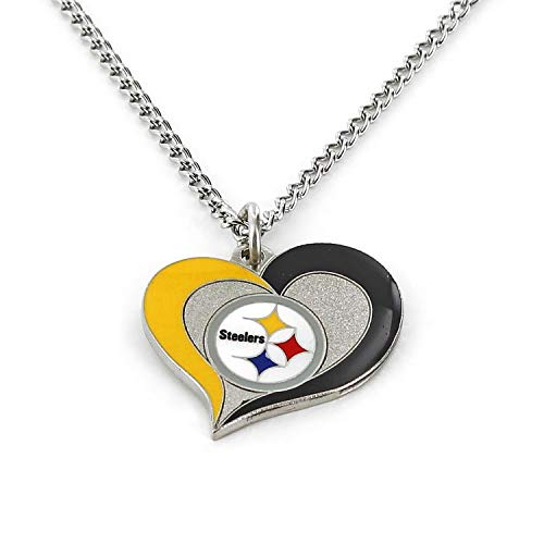 aminco NFL Pittsburgh Steelers Swirl Heart Necklace