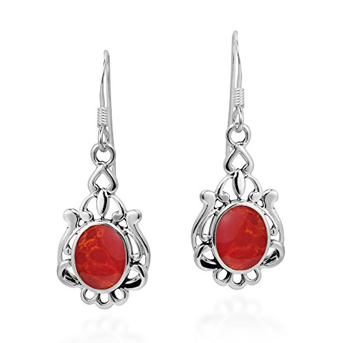 (Vintage Style Oval Reconstructed Red Coral .925 Sterling Silver Dangle Earrings)