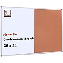 """4 Thought Magnetic Dry Erase and Cork Bulletin Board Combination, 36'' X 24"""" Magnetic Whiteboard & Cork Board Combo with Aluminum Frame, 10 Push Pins and Marker Tray Included"""