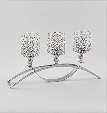 LANLONG Home Decoration Crystal Candle Holders with 3 Arms Candelabra for Room Wedding Dining Coffee Table Decorative Centerpiece Silver, Spherical
