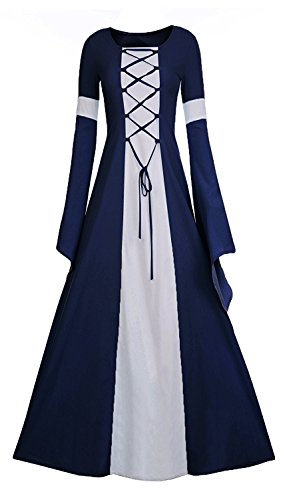 Meilidress Women Medieval Dress Lace Up Vintage Floor Length Cosplay Retro Long Dress (Small, Navy Blue) -