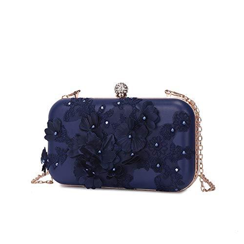 Peng Fang Women Flower Clutches Evening Bags Handbags Wedding Clutch Purse(Dark blue)