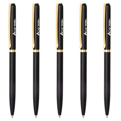 Ballpoint Pen, Ace Teah Stainless Steel Retractable Ballpoint Pens Matte Black Medium Point (1.0mm) Slim Metal Ball Pens Black Ink Gift for Men Women Business Office Supplies - 5 Count ()