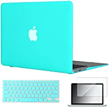 "Easygoby 3in1 Case For MacBook Air 13-inch - Matte Silky-Smooth Soft-Touch Hard Shell Case Cover for MacBook Air 13.3""(Fit Models:A1369/A1466) + Keyboard Cover + Screen Protector - Turquoise"