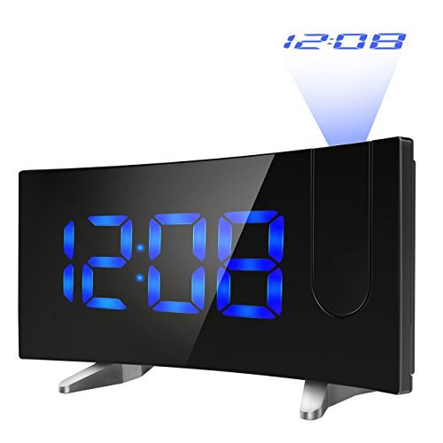 PICTEK YTGEHM126BBUS Projection FM 5-inch Dimmable Screen Ceiling Display, Kids Radio with Dual Snooze Function, Digital Alarm Clock Projector for Bedroom, ()