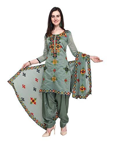 (Womens Rajasthani Mirror Work Chanderi Embroidery Readymade patiala Salwar kameez (XXX-Large-44, Grey))