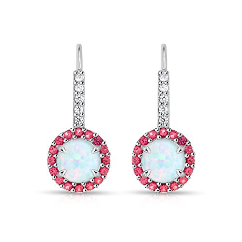 Sterling Silver Simulated White Opal & Simulated Gemstone Round Halo Leverback Earrings