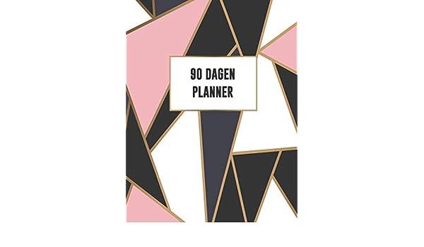 90 Dagen Planner: Roze Goud Zwart Wit Mozaïek Design ...