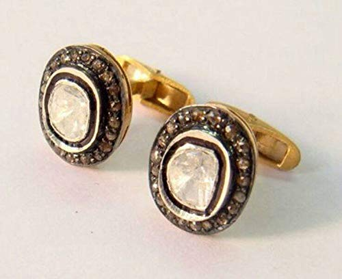 Victorian style Antique Finish 1.60cts Rose Cut Uncut Diamond Sterling Silver oval cufflinks For Wedding Engagement Party ()