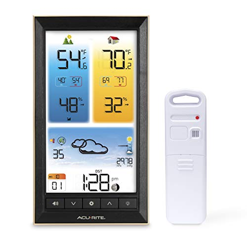 AcuRite 01201M Vertical Wireless Color Weather Station with Indoor/Outdoor Temperature Alerts, Black