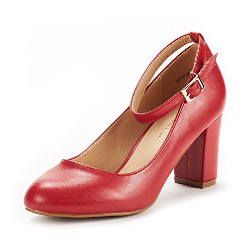 - DREAM PAIRS Women's Demilee Red Pu High Chunky Heel Pump Shoes Size 9 B(M) US