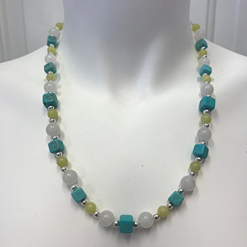 Turquoise Magnesite, Green Serpentine, and Snow Quartz Necklace - Serpentine Turquoise Necklace