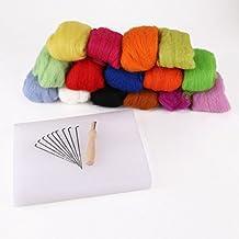 SODIAL(R)Set of 15 colors wool felting + 10 needles + foam backing