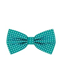 Jacob Alexander Polka Dot Print Men's Polka Dotted Pretied Bowtie - Teal