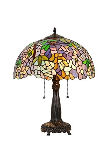 - Wisteria Tiffany Style Stained Glass Table Lamp Shade