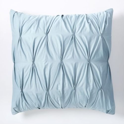 (Urban Bedding Zipper Pintuck 2 Piece Pillow Decorative Throw Cushion Cover Sham Case 100% Cotton Sateen Euro 26 inch x 26 inch, Light Blue)