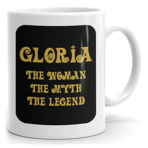 Mug that says Gloria - The Woman The Myth The Legend - Best Gifts for Women - 15oz White Mug - Gold Black 1