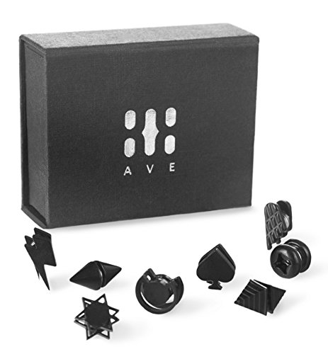 808 Ave. Stainless Steel Stud Clip On Earrings Set: Black Magnetic Gauge Cheater Ear Rings for Men & Women - 8 - Earrings Magnetic Spike