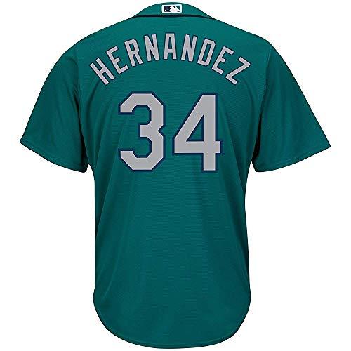 - jerseyball Men/Women/Youth Felix_Hernandez_Green Buttoned Baseball_Jersey