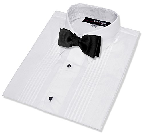 Gino Giovanni Boys Formal Tuxedo Shirt with Bow Tie #G112 (10, White)