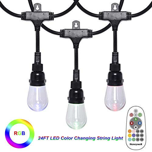 Honeywell Linkable Waterproof LED Indoor Outdoor Color Changing String Light with Remote Control, 24FT Commercial Grade Patio Lights Create Cafe Ambience in Your Residential or Commercial Setting