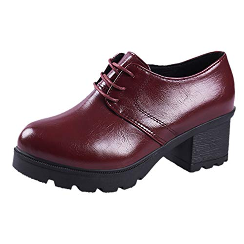 Platform Knight Martin Boots,Londony Women's Climate Faux Leather Lace-Up Thick Platform Chunky Heel Lug Ankle Bootie Red