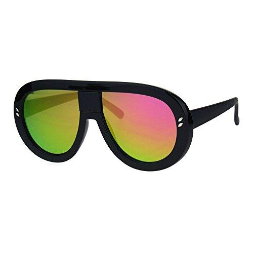 Futuristic Sunglasses Oversized Shield Goggle Frame UV400 Black, Fuchsia - Goggles Futuristic