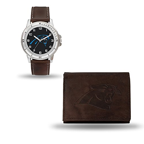 Rico Industries NFL Carolina Panthers Men's Watch and Wallet Set, Brown, 7.5 x 4.25 x 2.75-Inch (Panthers Watch Sports)
