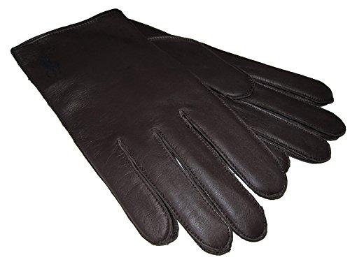 Polo Ralph Lauren Mens Leather Lambs Wool Pony Gloves (Medium, Dark (Big Pony Lambswool)