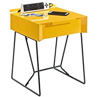 Sauder Studio RTA Soft Modern End Table, Yellow Saffron