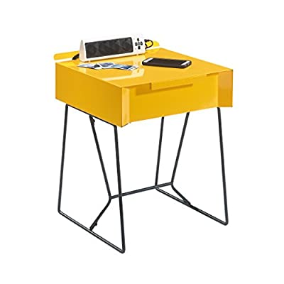 Sauder Studio RTA Soft Modern End Table, Yellow Saffron - Finished on all sides Easy-glide drawer Metal construction - living-room-furniture, living-room, end-tables - 41fcPrwszNL. SS400  -