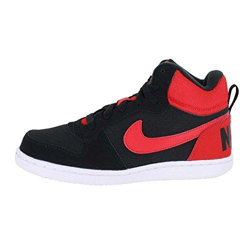 Nike Garçons Tribunal Borough Mid Print (gs) Chaussure De Basket Noir / Action Rouge