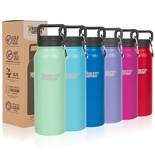 Healthy Human Classic Collection Stainless Steel Vacuum Insulated Water Bottle | Keeps Cold 24 Hours, Hot 12 Hours | Double Walled Water Bottle | 21 oz Seamist